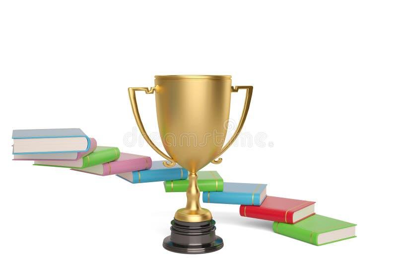 Boeken als riem om de gouden trofee op een witte achtergrond, 3D I vector illustratie