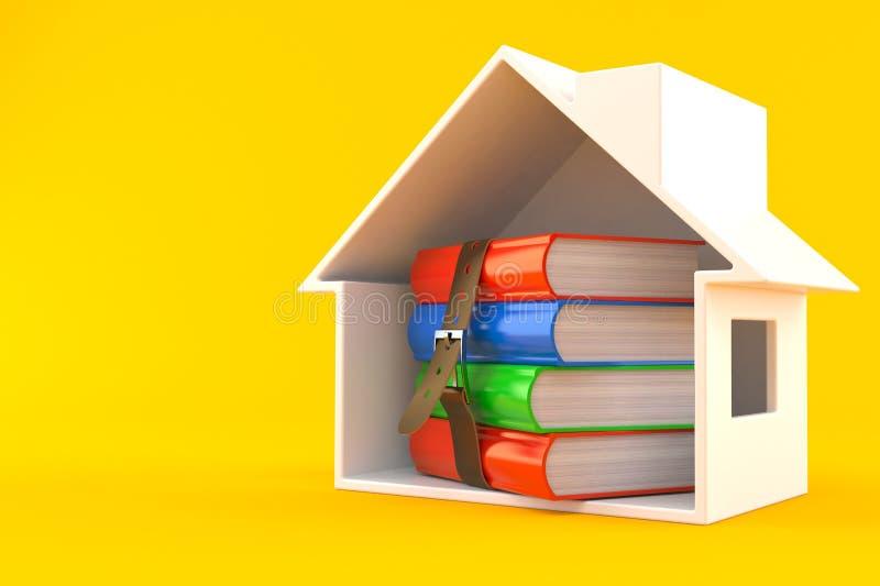 Boeken binnen huisdwarsdoorsnede stock illustratie