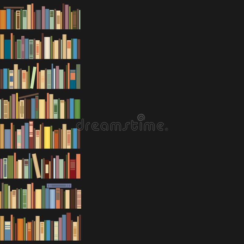 Boeken die zich op een rij op een donkere achtergrond bevinden stock illustratie