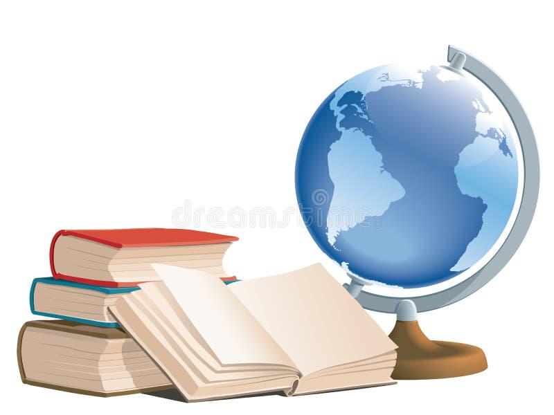 Boeken en bol vector illustratie
