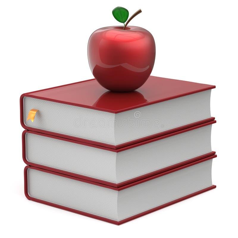 Boeken en handboek die van de appel het rode lege referentie pictogram bestuderen vector illustratie