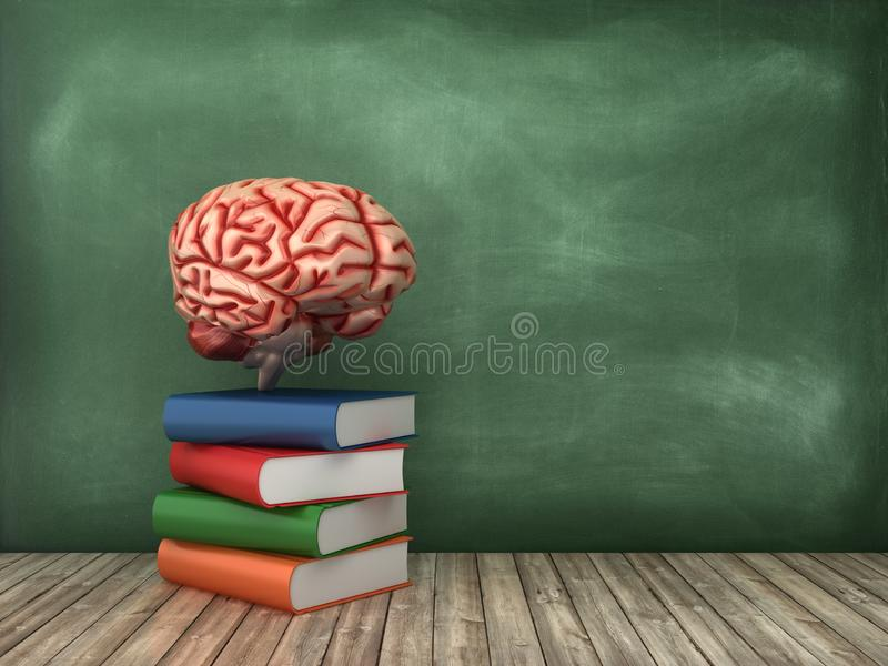 Boeken en Hersenen op Bordachtergrond stock illustratie