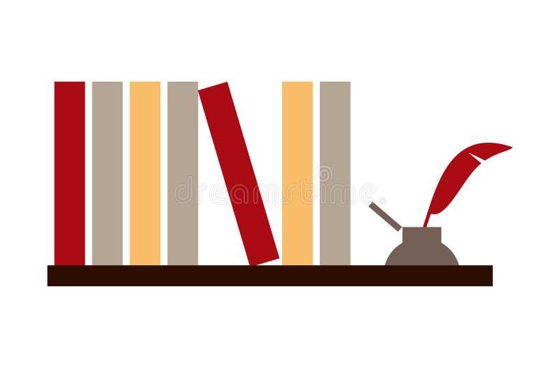 Boeken en inktpot royalty-vrije illustratie