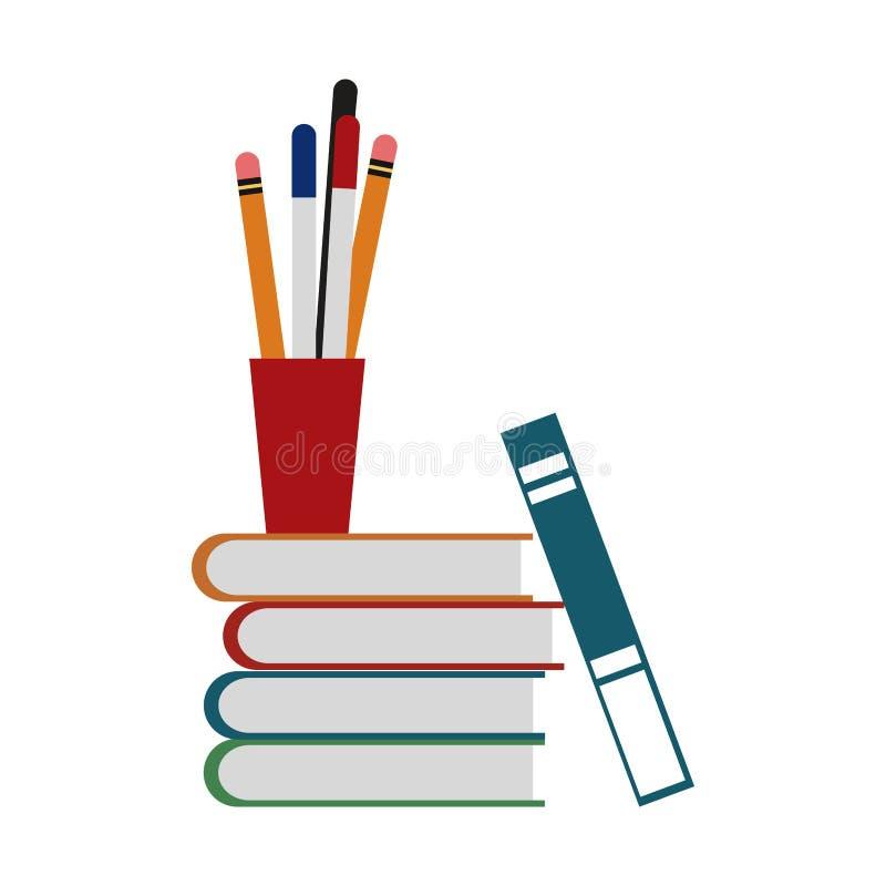 Boeken en kop met pennen stock illustratie