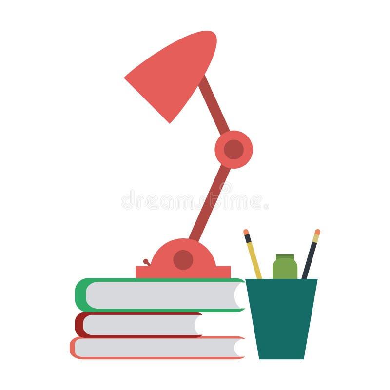 Boeken en lichten met pennen vector illustratie