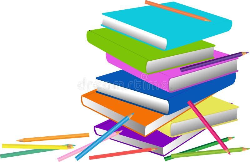 Boeken en potloden vector illustratie