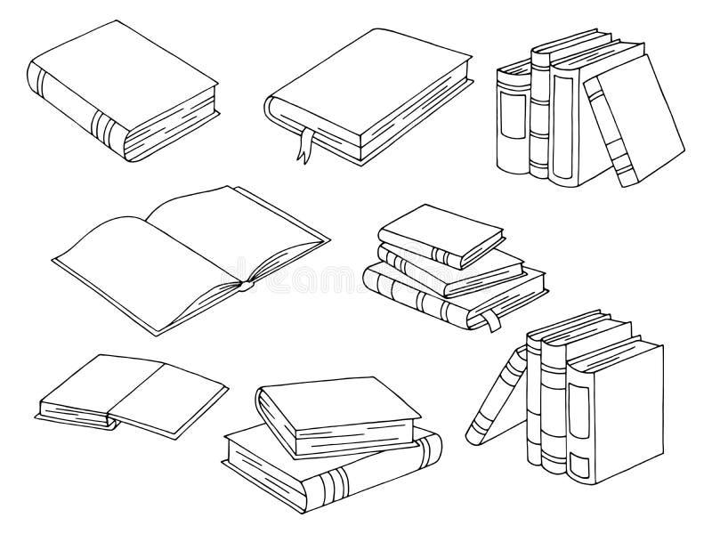 Boeken geplaatst de grafische zwarte wit geïsoleerde vector van de schetsillustratie royalty-vrije illustratie