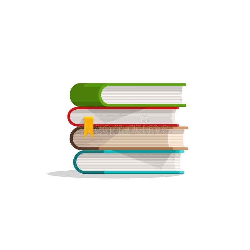Boeken gestapelde stapel en referentie, handboekstapel met schaduw, symbool royalty-vrije illustratie