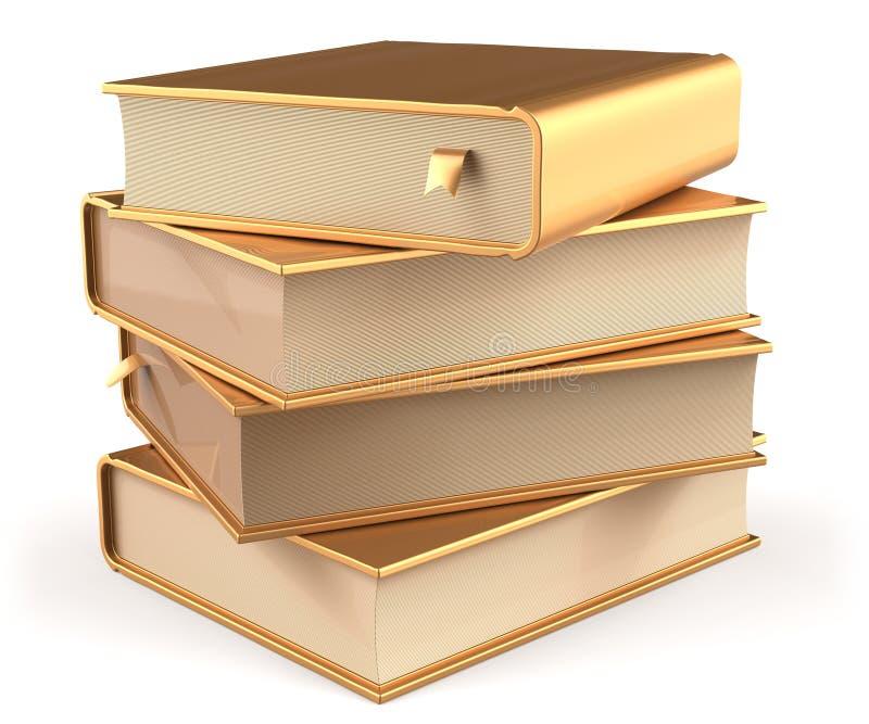 Boeken gouden vier het lege gele gouden pictogram van de 4 handboekstapel royalty-vrije illustratie