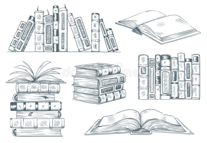 Boeken het graveren Het uitstekende open boek graveert getrokken schets Van de de studentenlezing van de handtekening het handboe stock illustratie