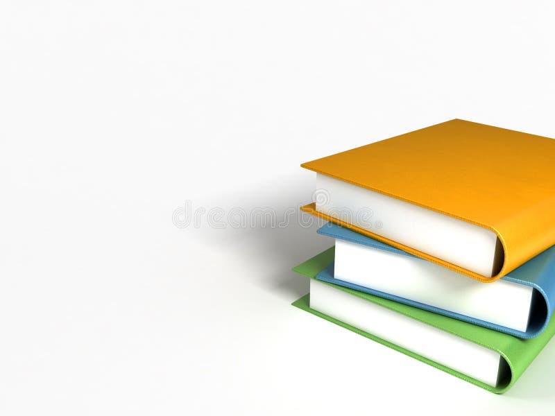Boeken massief op wit stock foto's
