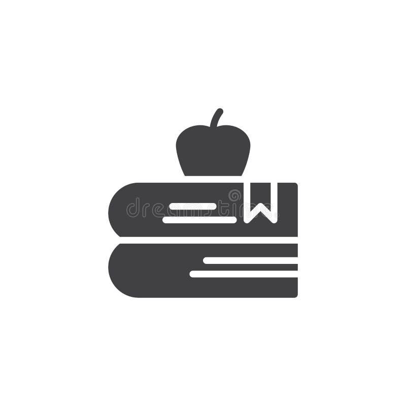 Boeken met appel vectorpictogram royalty-vrije illustratie