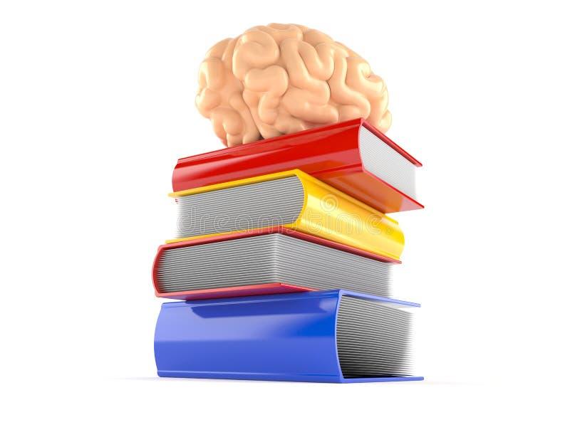 Boeken met hersenen vector illustratie