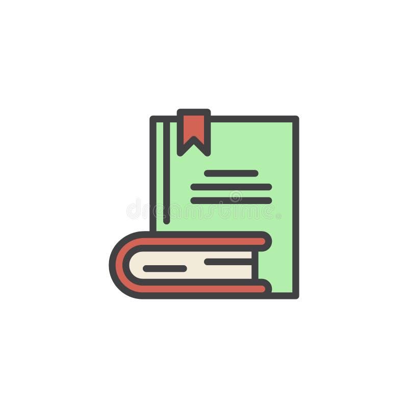 Boeken met referentie gevuld overzichtspictogram stock illustratie