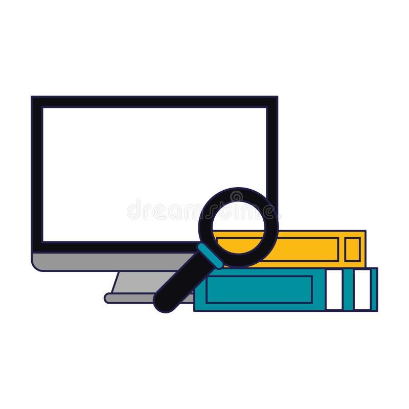 Boeken met vergrootglas en document blauwe lijnen worden opgestapeld die vector illustratie