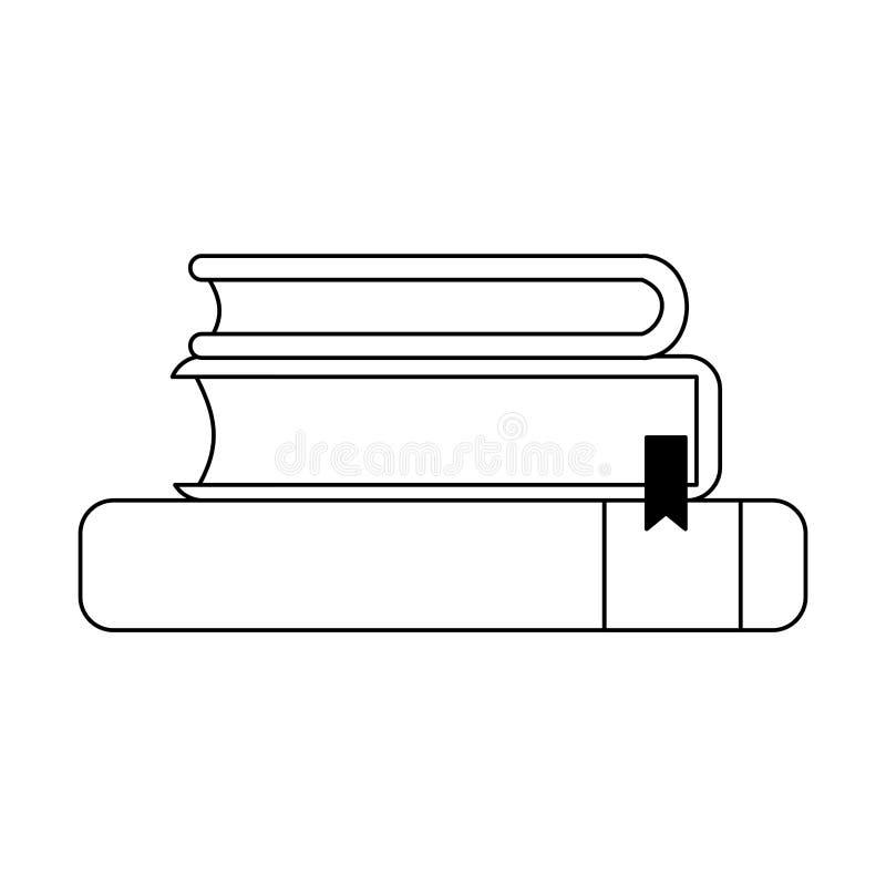 Boeken omhoog in zwart-wit worden opgestapeld die stock illustratie