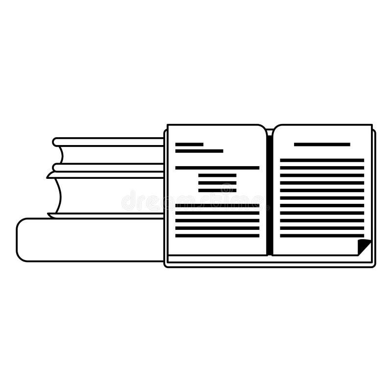 Boeken omhoog in zwart-wit worden opgestapeld die royalty-vrije illustratie