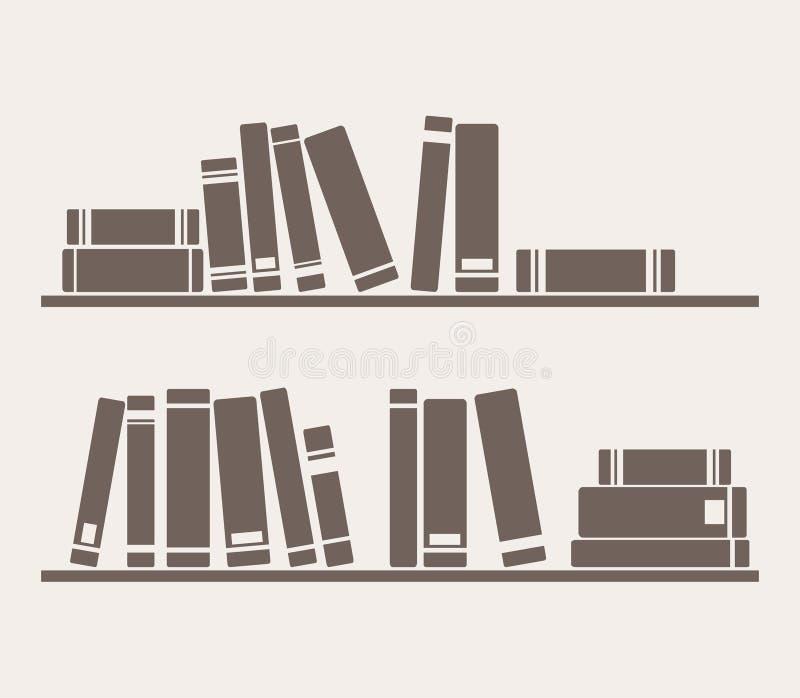 Boeken op de planken eenvoudig retro vector royalty-vrije illustratie