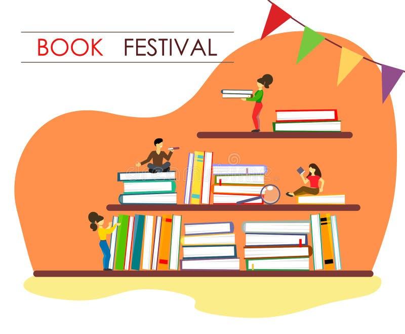 Boeken op de planken in stapels met beeldverhaalkarakters en tekst in de stijl van vlakte Boekfestival royalty-vrije illustratie