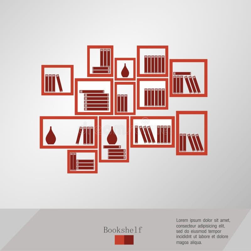 Boeken op een boekenrek worden geplaatst dat royalty-vrije illustratie