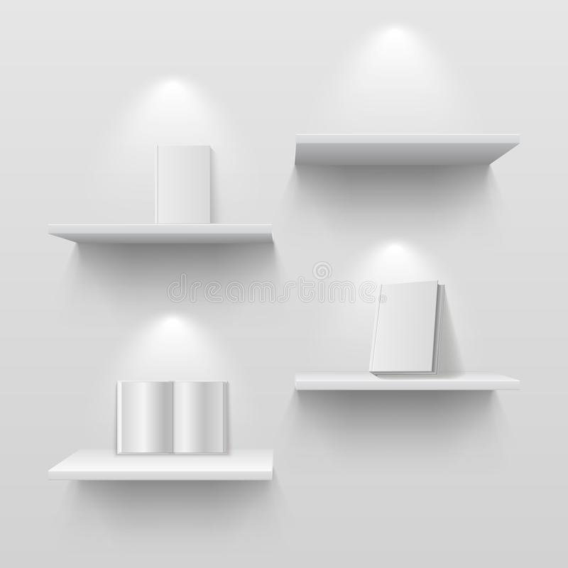 Boeken op planken Leeg wit 3d geïsoleerd boekenrek op huismuur Creatief vectormodel met schaduwen royalty-vrije illustratie