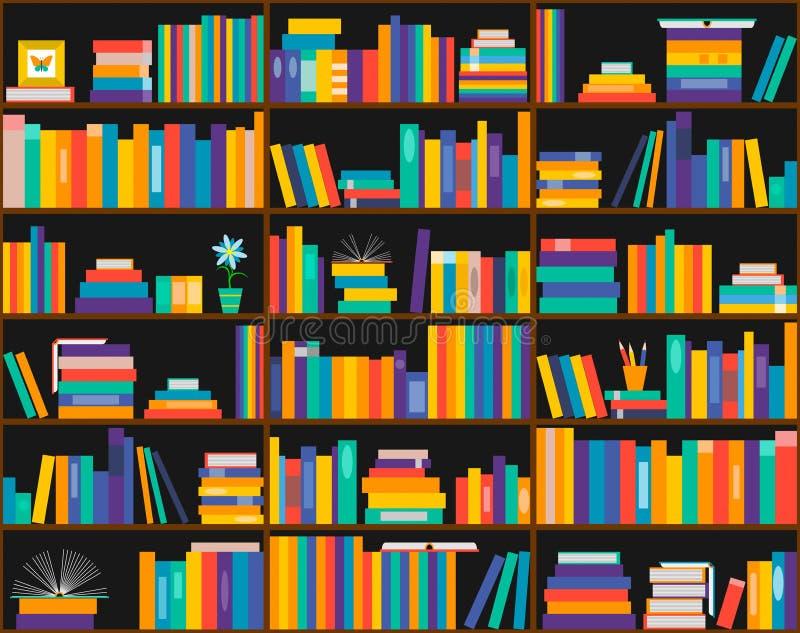 Boeken op planken, naadloos patroon Boekenkast, bibliotheek stock illustratie