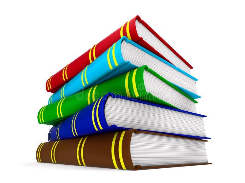 Boeken op Witte Achtergrond Geïsoleerde 3d illustratie stock illustratie