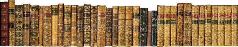Boeken oude uitstekende antiquiteit op een rij stock afbeeldingen