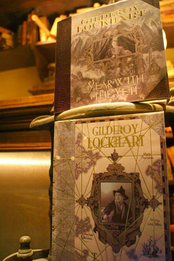 Boeken over Gilderoy Lockhart in een winkel in de Wizarding-Wereld van Harry Potter royalty-vrije stock afbeeldingen