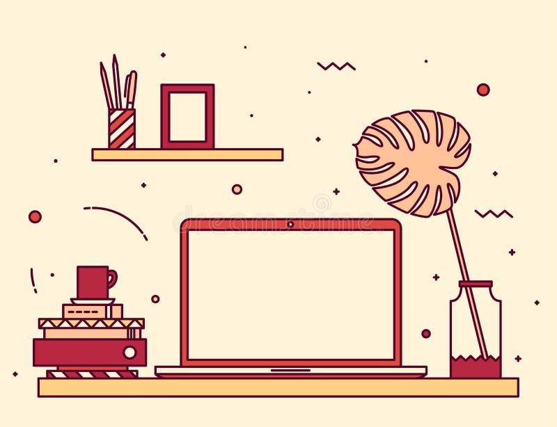 In boeken van het de stijltoetsenbord van de het werkruimte de lineaire vector illustratie