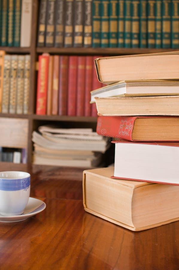 Boeken van huisbibliotheek. royalty-vrije stock fotografie