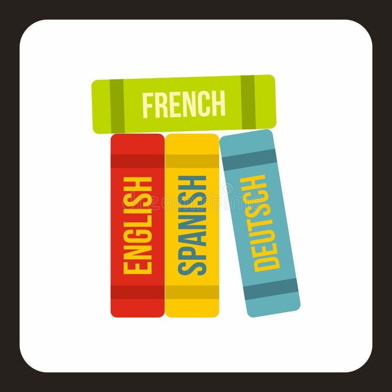 Boeken van vreemde talenpictogram, vlakke stijl vector illustratie