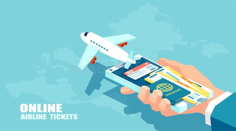 Boekende luchtvaartlijnkaartjes en het online concept van de reizigersverzekering Vector van reis, bedrijfsvluchten wereldwijd stock illustratie