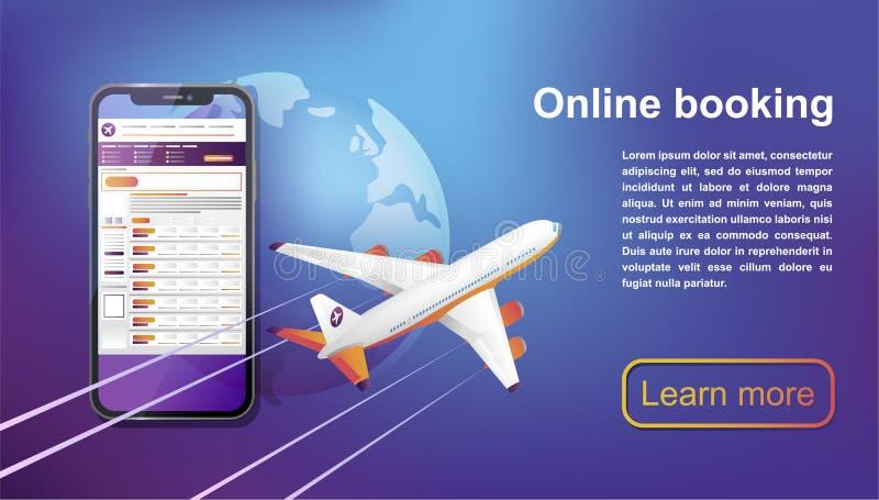 Boekende online vluchtenreis Koop online kaartje vector illustratie