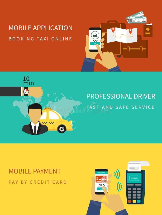 Boekende taxi stock illustratie