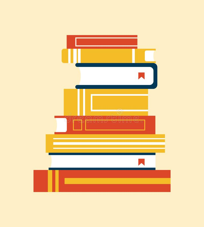 Boekeninzameling met Referentie Vectorillustratie stock illustratie