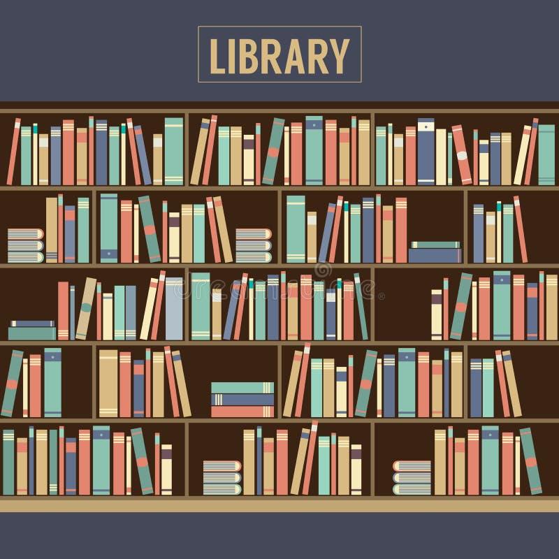 Boekenkast in Bibliotheek vector illustratie