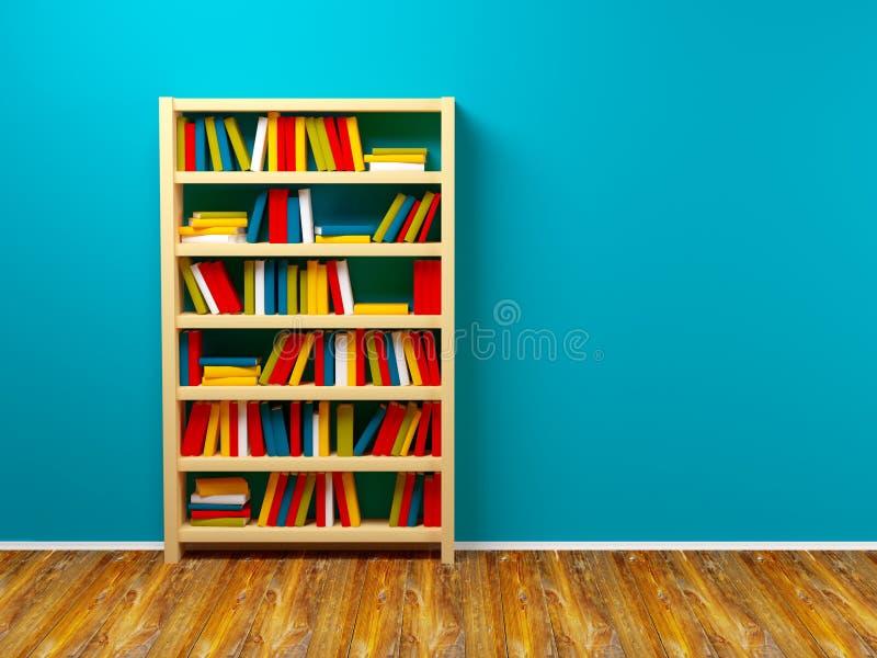 Boekenkast blauwe muur royalty-vrije illustratie