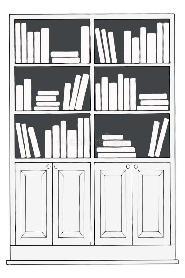 boekenkast of boekenrek royalty-vrije illustratie