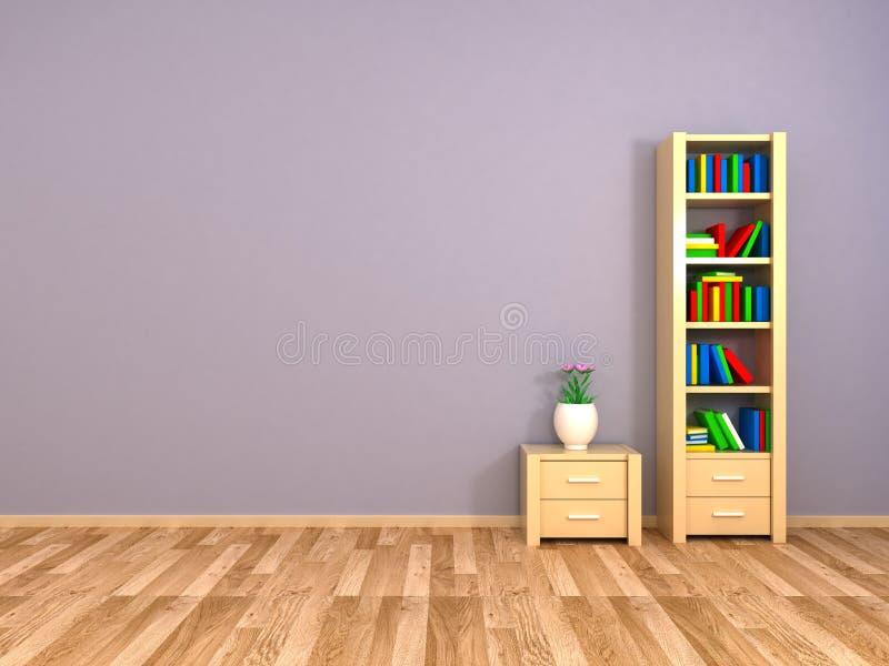 Boekenkast en nightstand bij de muur stock illustratie