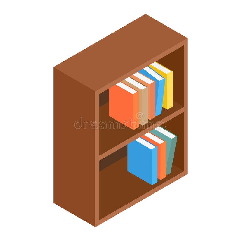 Boekenkast isometrisch 3d pictogram vector illustratie