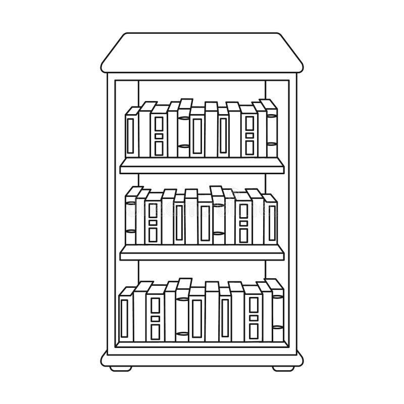 Boekenkast met boekenpictogram in overzichtsstijl die op witte achtergrond wordt geïsoleerd Bibliotheek en boekhandel de vector v stock illustratie