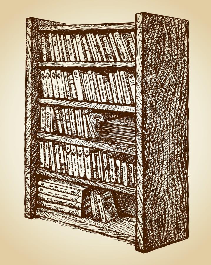 Boekenkast met diverse boeken Vector tekening stock illustratie