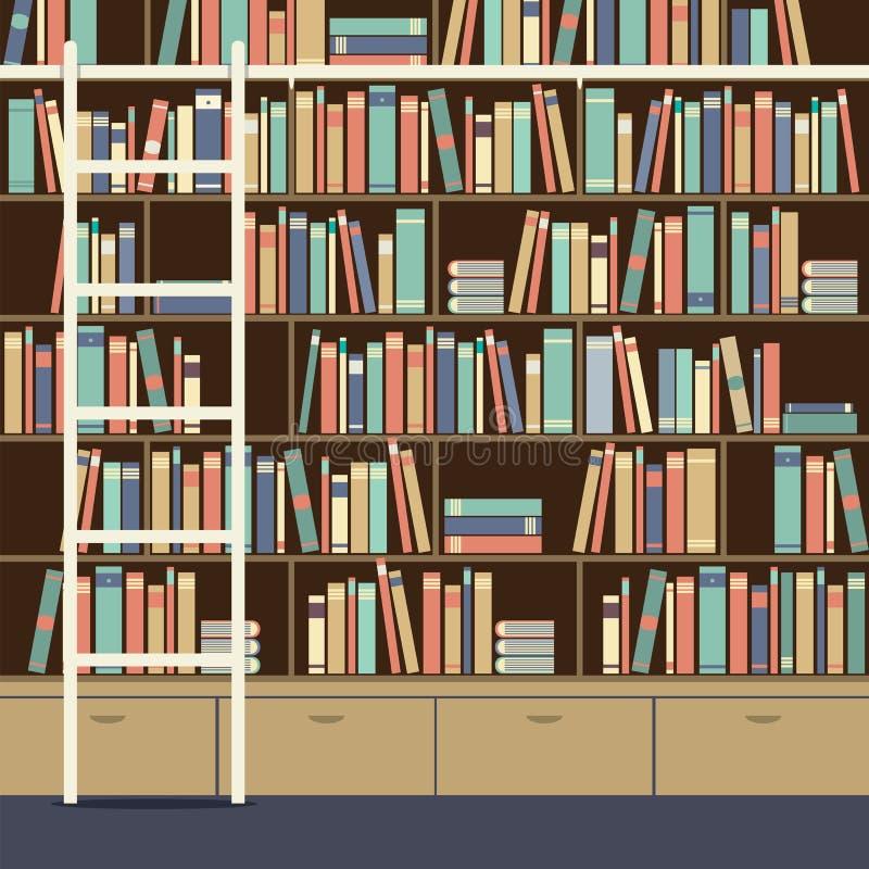 Boekenkast met Ladder vector illustratie. Illustratie bestaande uit ...