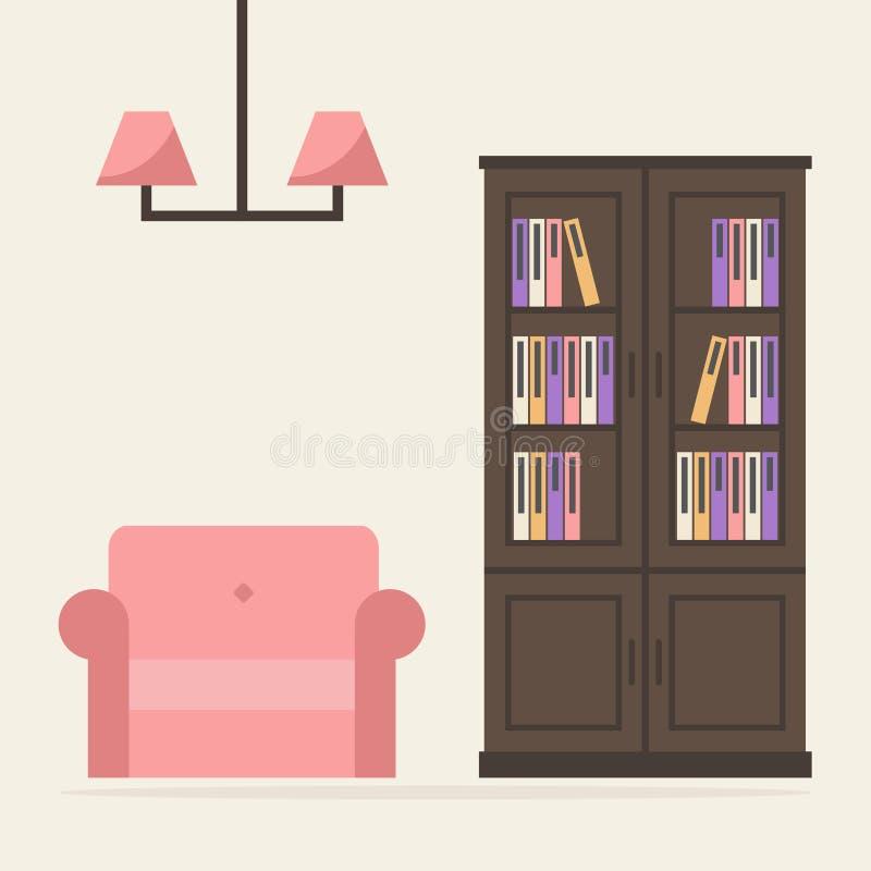 Boekenkast Met Leunstoel En Lamp Vector Illustratie - Illustratie ...
