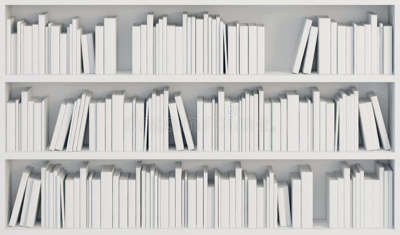 Boekenkast met witte boeken stock illustratie