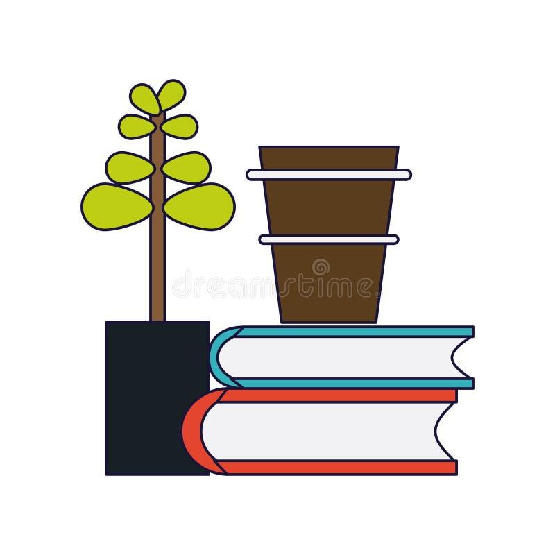 Boekenkoffie en bonsai stock illustratie