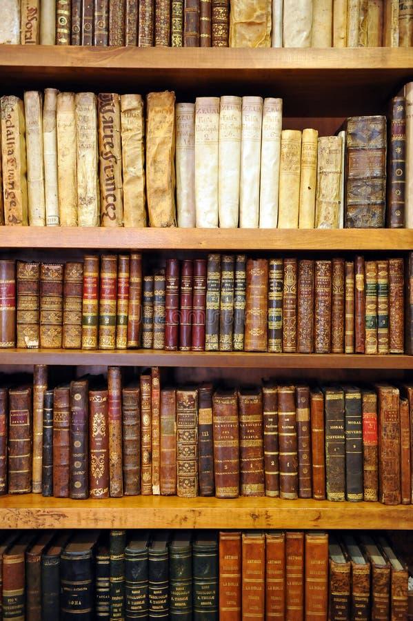 Boekenrekken binnen een boekhandel, antieke boeken, bibliotheek royalty-vrije stock foto
