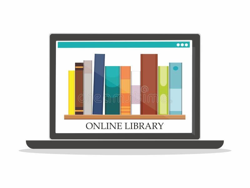Boekenrekken met boeken op concept van het de Bibliotheekonderwijs van het computerscherm het Online royalty-vrije illustratie
