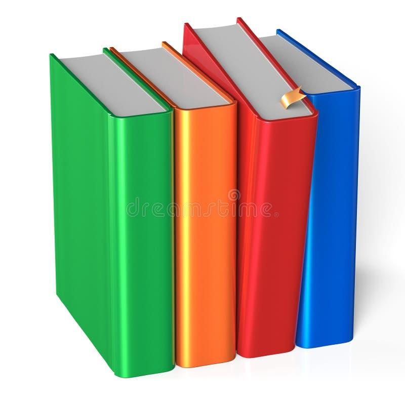 Boekenrij vier dekkingsspatie die rood kleurrijk handboek selecteren stock illustratie